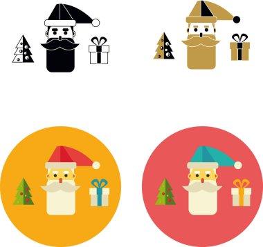 Santa a Christmas tree and a gift