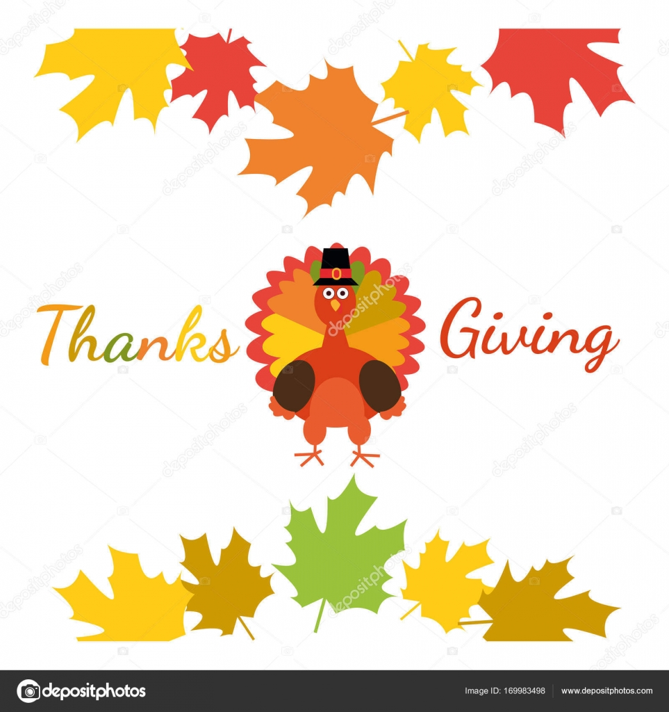 Happy Thanksgiving Greeting Card With Funny Cartoon Turkey And