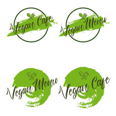 Vegan menu Vegan cafe Vector logos or signs