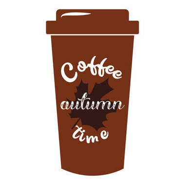 Quote coffee cup Autumn typography take away to go. Calligraphy style. Shop promotion motivation. Graphic design lifestyle lettering. Sketch hot drink mug inspiration vector.