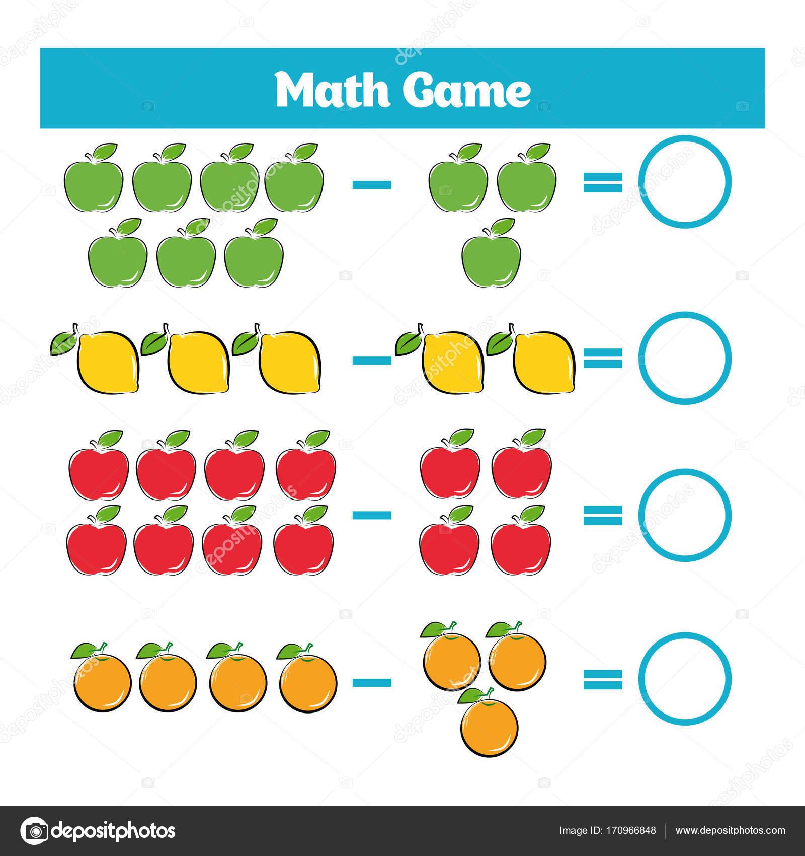 Mathematik-Lernspiel für Kinder. Subtraktion Arbeitsblatt für Kinder ...