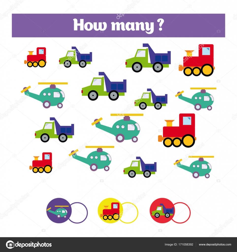 Pädagogische Kinder Spiel, Kinder Aktivität Blatt zählen. Wie viele ...