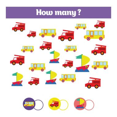 Counting educational children game, kids activity sheet. How many objects task. Learning mathematics, numbers, addition theme