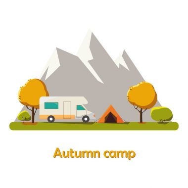 Autumn Camping vector flat illustration landscape, hiking, outdoor recreation concept with flat camping travel. Travel tourism rest vacation near mountains in forest, nature weather concept template.