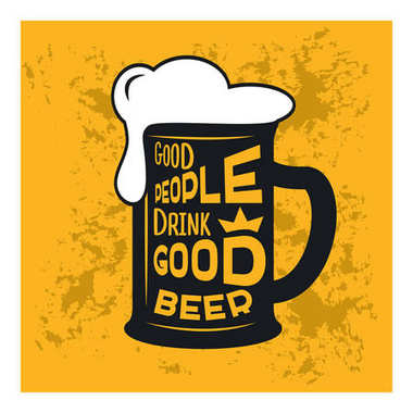 Good people drink good beer - beer themed quote inside the glass of beer, vintage stock illustration, typography design