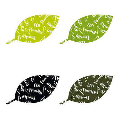 Set of ECO friendly green Set of green labels and badges with leaves for eco friendly products