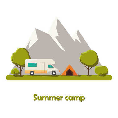 Summer camping Sunny day landscape illustration in flat style with tent, campfire, mountains, forest. Background for summer camp, nature tourism, camping or hiking design concept.