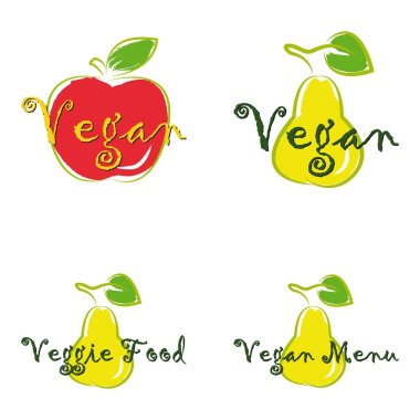 Vegan menu Vegan cafe food Vector logos or signs