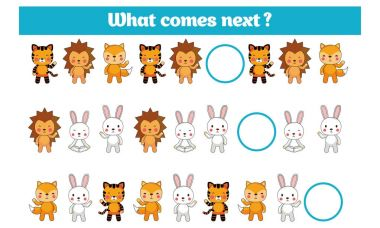 What comes next educational children game. Kids activity sheet, training logic, continue the row task with colorful simple shapes