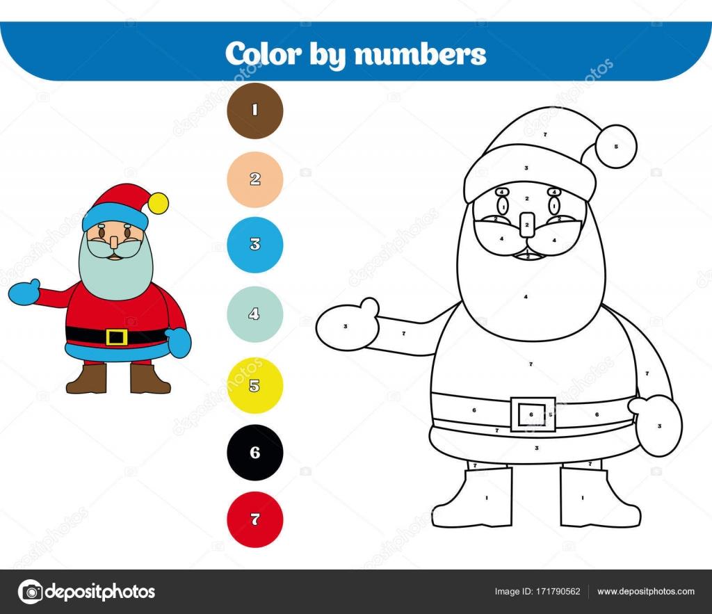Color por número, educación para los niños. Página para colorear ...