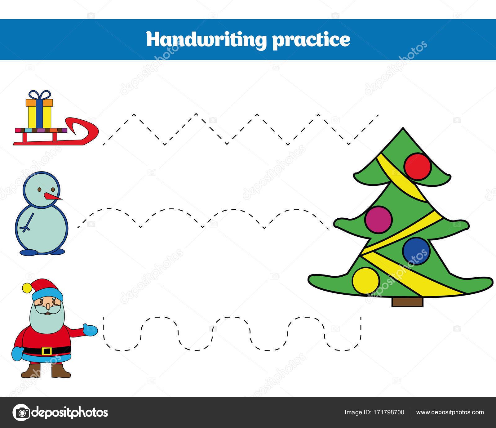 Handschrift-Praxis-Blatt. Pädagogische Kinder Spiel ...