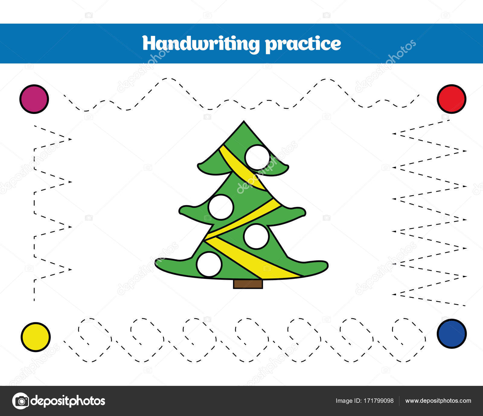 Handwriting practice sheet. Educational children game, restore the ...