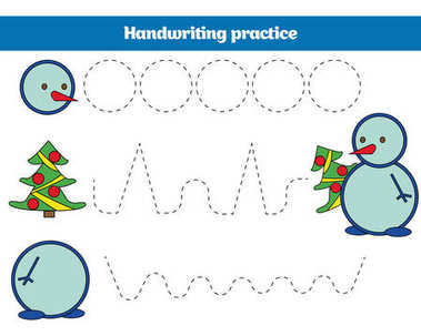 Handwriting practice sheet. Educational children game, restore the dashed line. Writing training printable Christmas Xmas and New Year holidays design