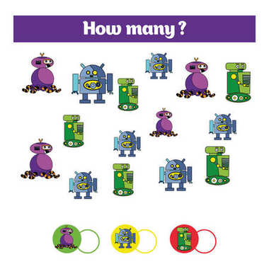 Counting educational children game, kids activity sheet. How many objects task. Learning mathematics, numbers, addition theme robots
