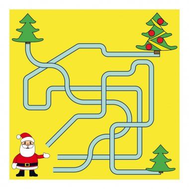 Funny Christmas Maze Game: Santa Claus. New Year Vector Illustration