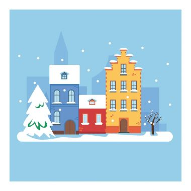 Winter city. Vector cartoon illustration of Christmas town illustration. Winter landscape. Greeting card with fairy tale houses. Snowy town at holiday eve.