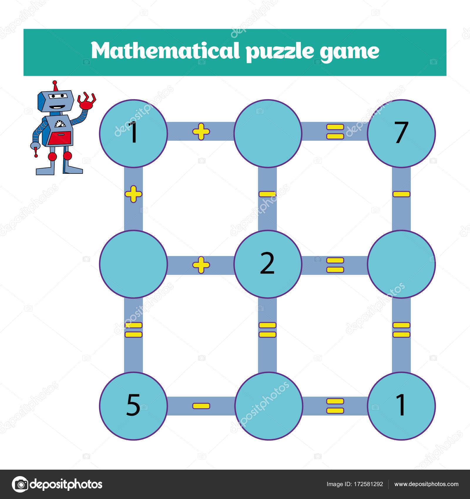 Mathematisches Puzzle-Spiel. Lernen von Mathematik, Aufgaben für die ...