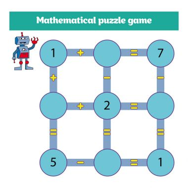 Mathematical puzzle game. Learning mathematics, tasks for addition for preschool children. worksheet for preschool kids - vector