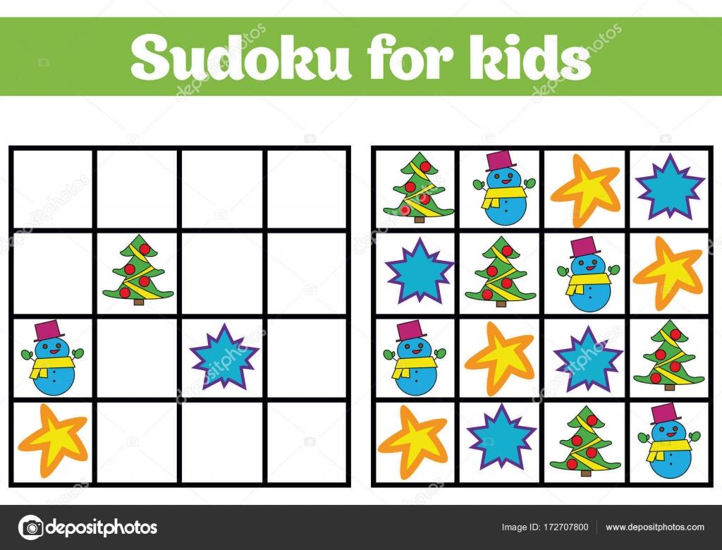 Sudoku-Spiel für Kinder mit Bildern. Logik-Spiel für Kinder im ...