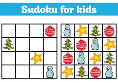 Sudoku game for children with pictures. Logic game for preschool children. rebus for children. Educational game vector illustration Merry christmas, new year