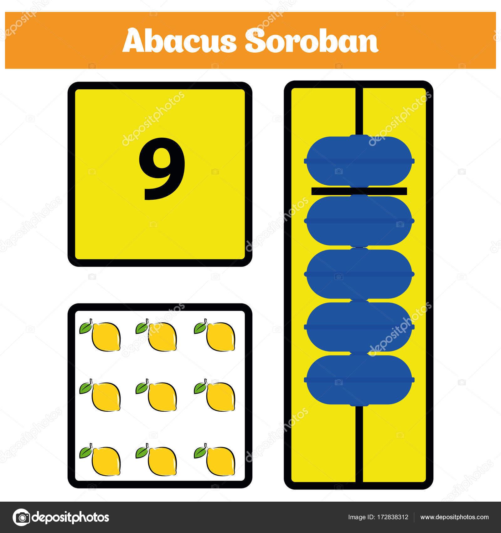 Abacus Soroban Kinder lernen Zahlen mit Abacus, Mathe Arbeitsblatt ...