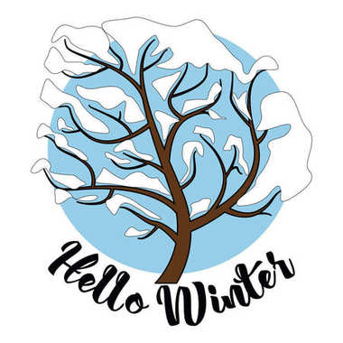 Hello Winter inscription Greeting card background with fir tree, reindeer, realistic snowfall and decorative elements. Christmas decoration. Vector  Victorian Winter card