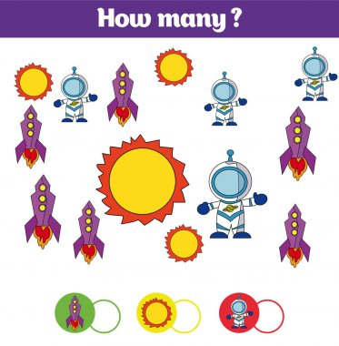 Counting educational children game, kids activity sheet. How many objects task. Learning mathematics, numbers, addition theme cosmos