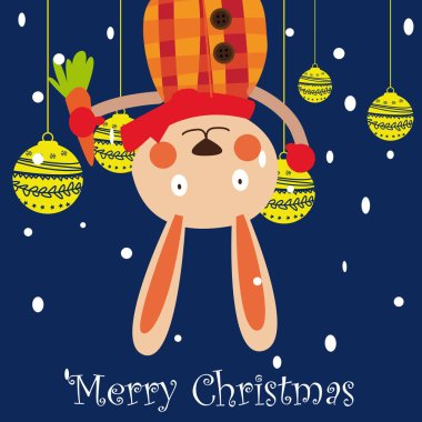 hand drawn merry christmas happy new year 2018 winter greeting card background with cute cartoon rabbit