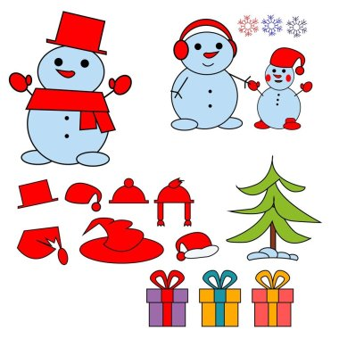 Set of winter holidays snowman. Cheerful snowmen in different costumes. Vector illustration.