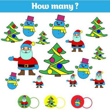 Counting educational children game, kids activity sheet. How many objects task. Learning mathematics, numbers. Vector illustration