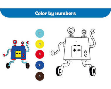 Color by number, education game for children. Coloring page, drawing kids activity. Robot