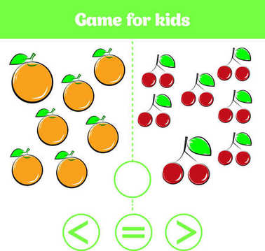 Education logic game for preschool kids. Choose the correct answer. More, less or equal Vector illustration. Fruits vegetables ,pictures for kids