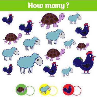 Counting educational children game, kids activity sheet. How many objects task. Learning mathematics, numbers