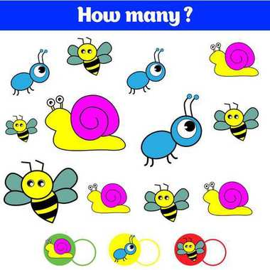 Counting educational children game, kids activity sheet. How many objects task. Learning mathematics, numbers.
