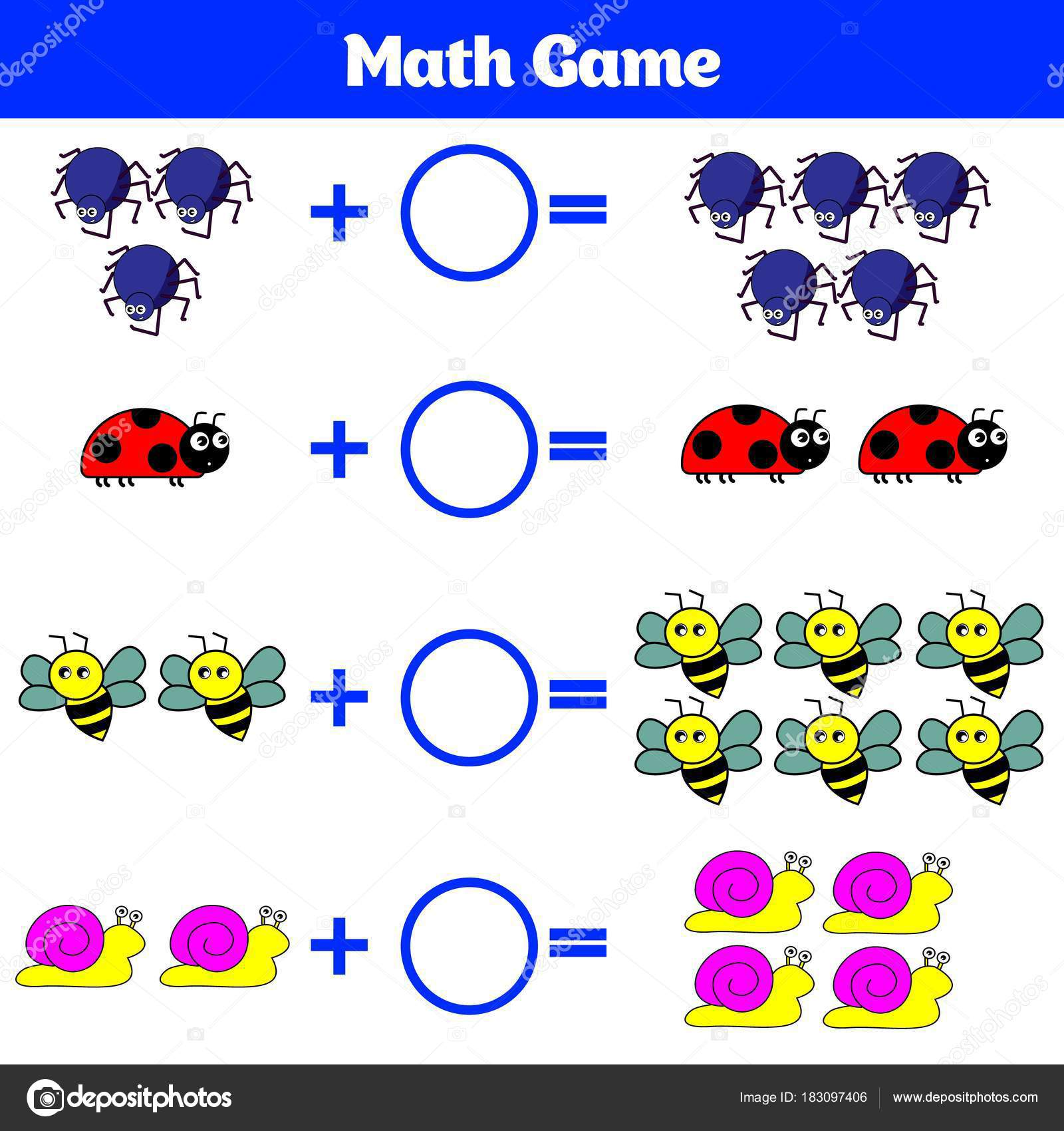Mathematik-Lernspiel für Kinder. Lernen Subtraktion Arbeitsblatt für ...
