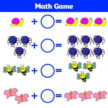 Mathematics educational game for children. Learning subtraction worksheet for kids, counting activity. Vector illustration