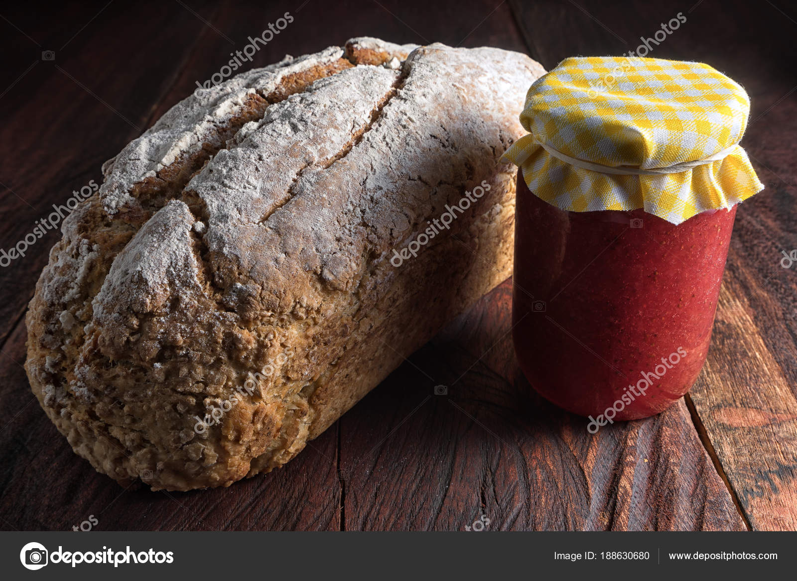 Loaf Artisan Bread Jar Jam Rustic Wooden Background Stock Photo