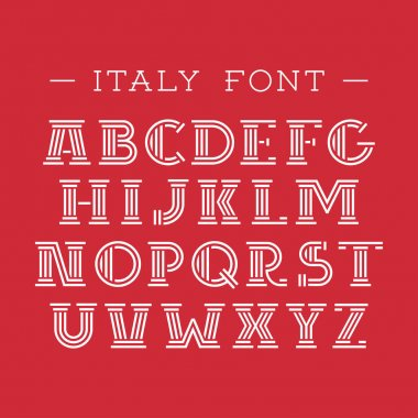 Italy font. Vector alphabet with latin letters