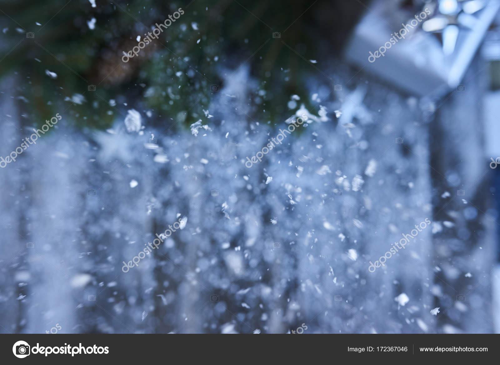 Kerst Defocused Achtergrond Een Heleboel Sneeuw Valt Op Hout