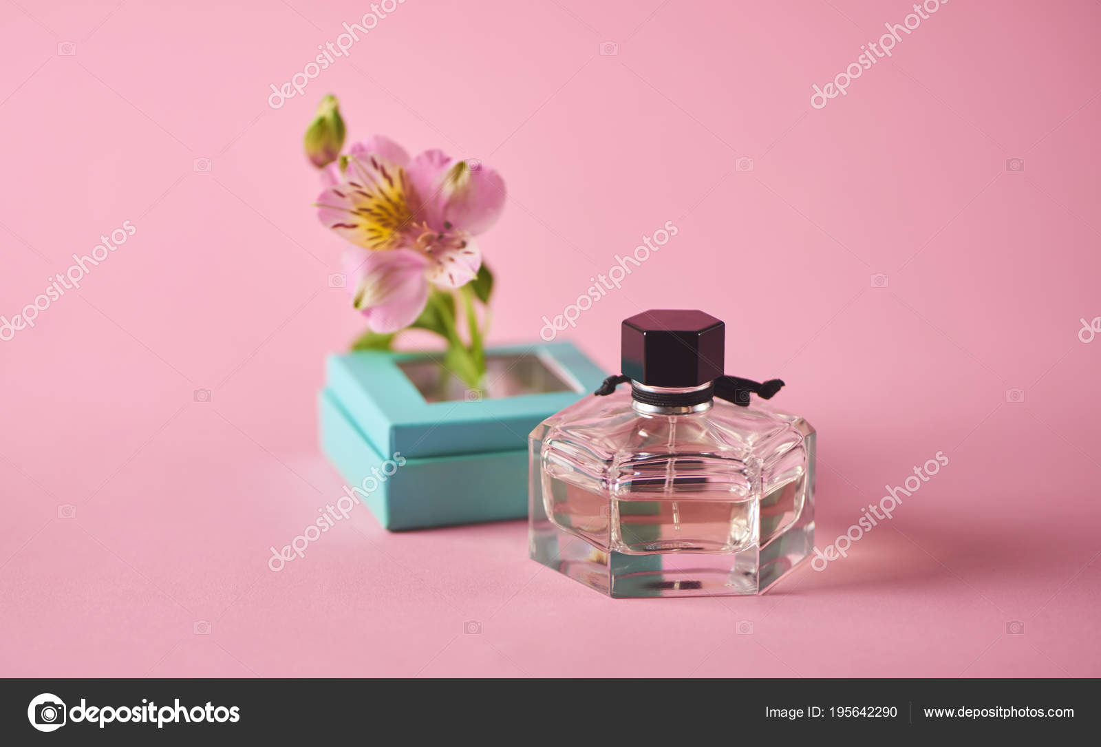 Opened Blue Perfume Box Pink Flower Pink Background Minimal Concept