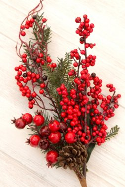Red fruits on the branches Christmas for decoration