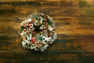 Christmas wreath with pine cones