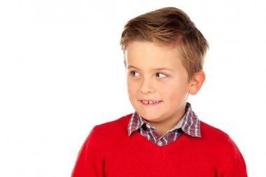 funny little boy in red jersey