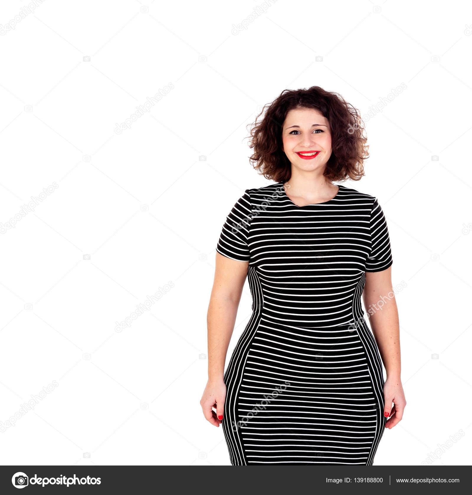 2ed805ed8a8c53 Красива дівчина пишні з Чорне плаття і червоні губи, ізольовані на білому  тлі — Фото від Gelpi