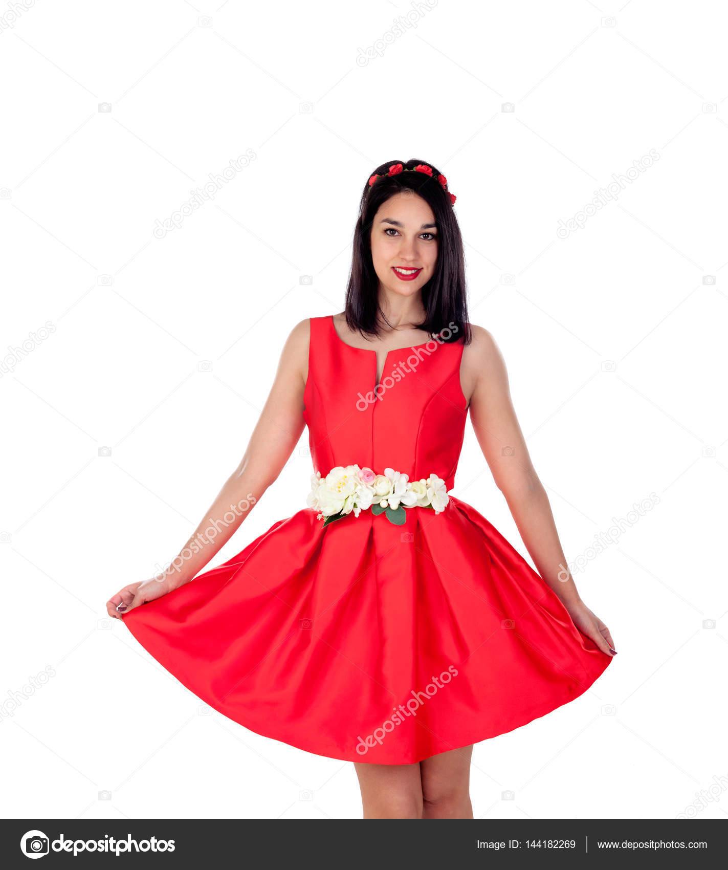 Mädchen mit roten Cocktailkleid — Stockfoto © Gelpi #144182269