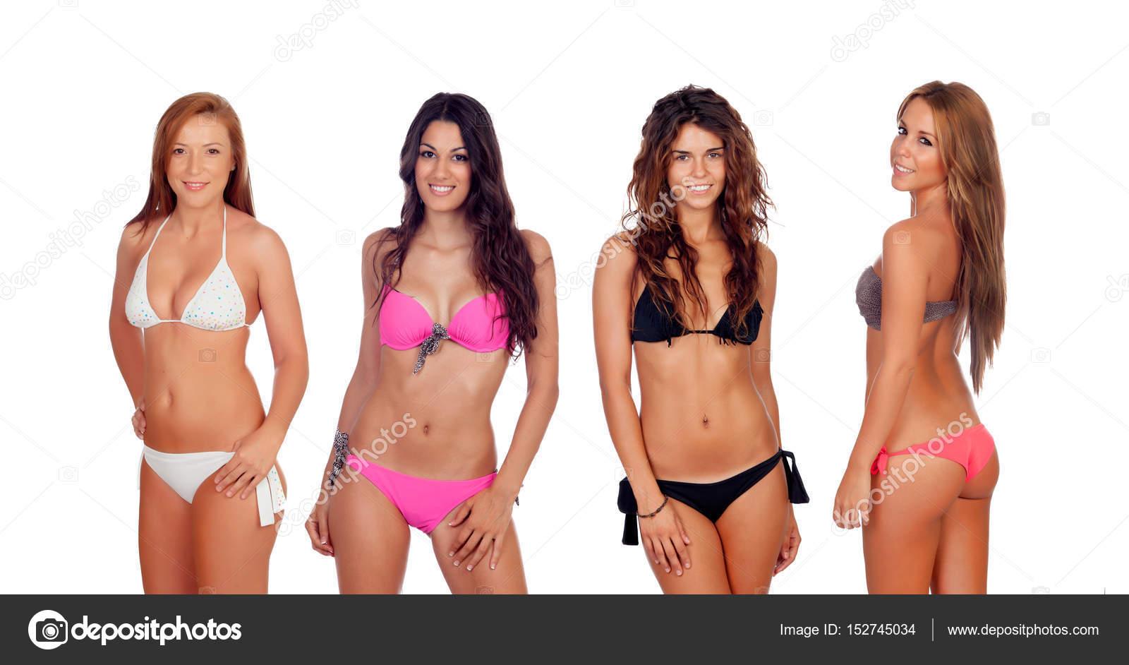 Bikini Guapas Chicas BlancosCuatro Bikinis En Con 9EeH2YDIbW