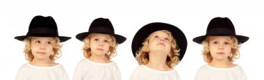 collage of blond child with black hat