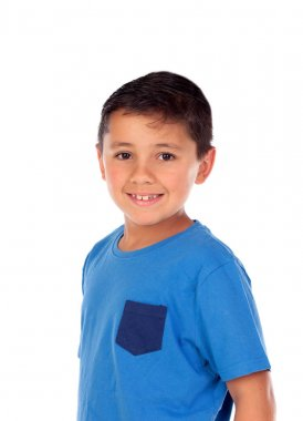 Beautiful child with blue tshirt and black hair isolated on white background stock vector