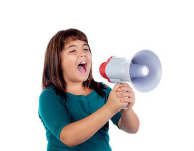 cute brunette girl with megaphone