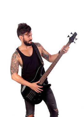 Handsome man with bass guitar